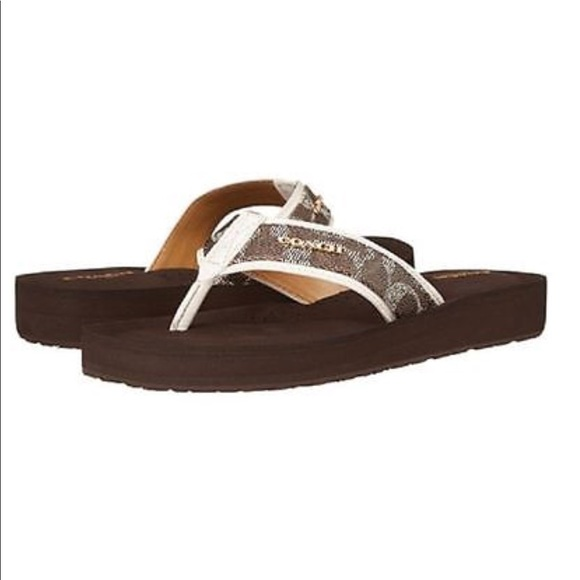 f13c8e6ac1fc Coach Shoes - NEW COACH JUDY SIG BROWN FLIP FLOP SANDALS 7.5